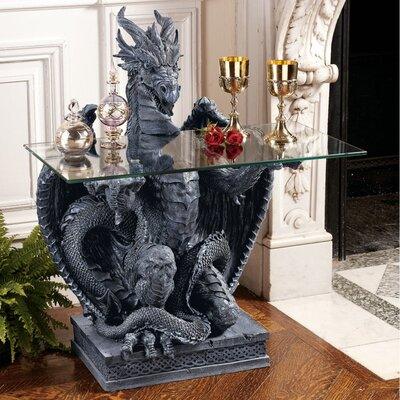 Cheap Design Toscano The Subservient Dragon Glass Topped Sculptural Table in Grey Stone (TXG1856)