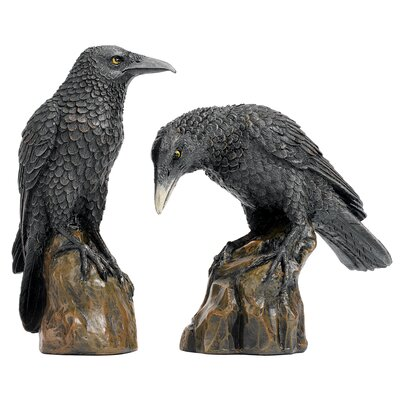 2 Piece Mystic Night Raven Figurine Set