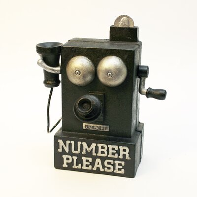 Number Please, Old Fashioned Crank Phone Mechanical Coin Bank