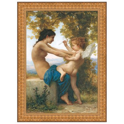 Young Girl Defending Herself Against Eros, 1880 by William-Adolphe Bouguereau Framed Painting Print Size: Grande P02074