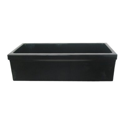Farmhaus Fireclay 35.5 x 20 Large Quatro Alcove Reversible Fireclay Kitchen Sink Finish: Black