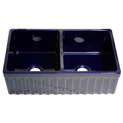FarmhausQuatro 33 x 20 x 10 Double Bowl Farmhouse Kitchen Sink Finish: Sapphire Blue