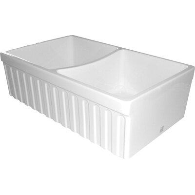 FarmhausQuatro 33 x 20 x 10 Double Bowl Farmhouse Kitchen Sink Finish: White