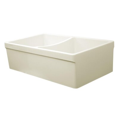 FarmhausQuatro 33 x 20 Double Bowl Farmhouse Kitchen Sink Finish: Biscuit