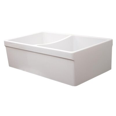 FarmhausQuatro 33 x 20 Double Bowl Farmhouse Kitchen Sink Finish: White
