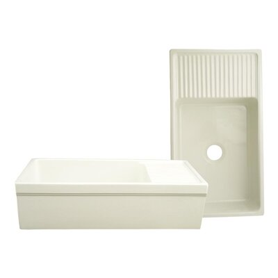FarmhausQuatro 36 x 20 Drop-In Kitchen Sink with Integral Drain Finish: Biscuit