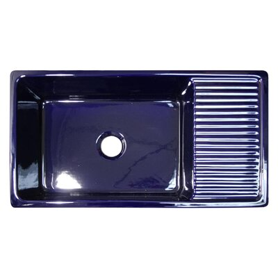 FarmhausQuatro 36 x 20 Drop-In Kitchen Sink with Integral Drain Finish: Sapphire Blue