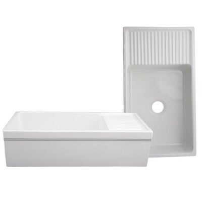 FarmhausQuatro 36 x 20 Drop-In Kitchen Sink with Integral Drain Finish: White