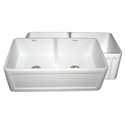 Farmhaus 33 x 18 Double Bowl Farmhouse Kitchen Sink Finish: White