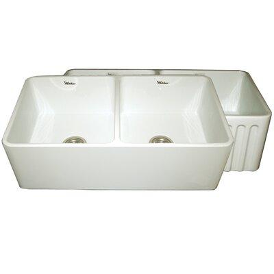 Farmhaus 33 x 18 x 10 Double Bowl Farmhouse Kitchen Sink Finish: Biscuit