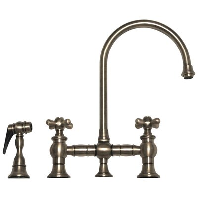 Vintage III Two Handle Widespread Kitchen Faucet with Gooseneck Swivel Spout, Cross Handles and Side Spray Finish: Brushed Nickel