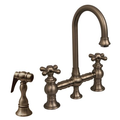 Vintage III 5.25 Two Handle Widespread Kitchen Faucet with Cross Handles and Side Spray Finish: Brushed Nickel