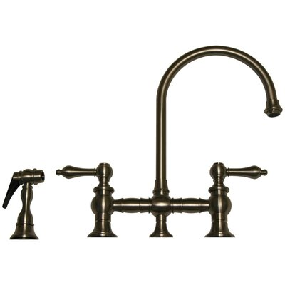 Vintage III Two Handle Widespread Kitchen Faucet with Gooseneck Swivel Spout, Lever Handles and Side Spray Finish: Brushed Nickel