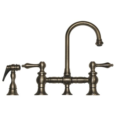 Vintage III 5.25 Two Handle Widespread Kitchen Faucet with Lever Handles and Side Spray Finish: Brushed Nickel