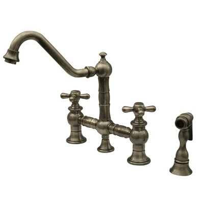 Vintage III Cross Handle Widespread Kitchen Faucet with Traditional Swivel Spout, Cross Handle and Side Spray Finish: Brushed Nickel