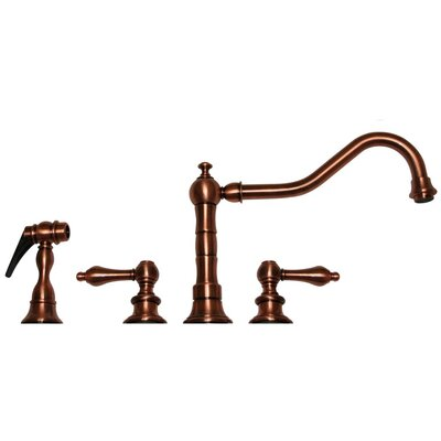 Vintage III Two Handle Widespread Bar Faucet with Swivel Spout, Lever Handles, Side Spray Finish: Antique Copper