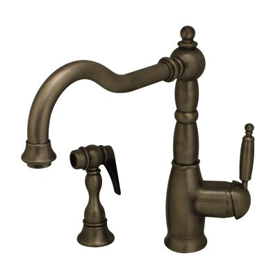 Essexhaus Single Handle Kitchen Faucet with Side Spray Finish: Pewter