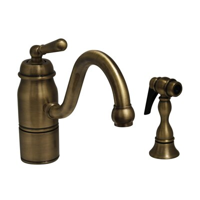 Beluga One Handle Single Hole Kitchen Faucet with Straight Handle and Side Spray Finish: Antique Brass
