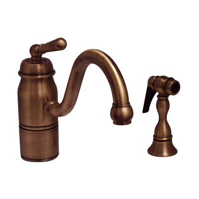 Beluga One Handle Single Hole Kitchen Faucet with Straight Handle and Side Spray Finish: Antique Copper