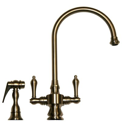 Vintage III Two Handle Single Hole Kitchen Faucet with Lever Handle and Side Spray Finish: Pewter