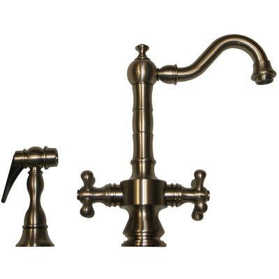 Vintage III Two Handle Single Hole Bar Faucet with Cross Handle and Side Spray Finish: Pewter