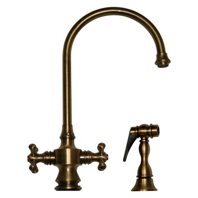 Vintage III Two Dual Handle Single Hole Kitchen Faucet with Cross Handle and Side Spray Finish: Antique Brass