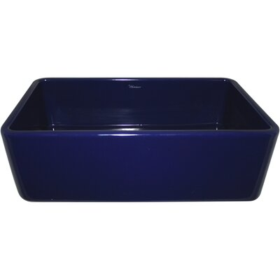 Farmhaus Fireclay 36 x 18 Duet Reversible Kitchen Sink with Smooth Front Apron Finish: Sapphire Blue
