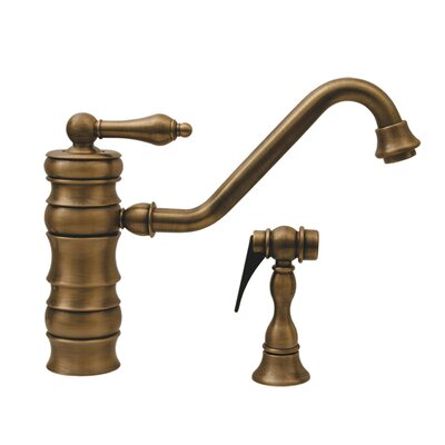 Vintage III Single Lever Handle Single Hole Kitchen Faucet with Traditional Swivel Spout and Side Spray Finish: Antique Brass
