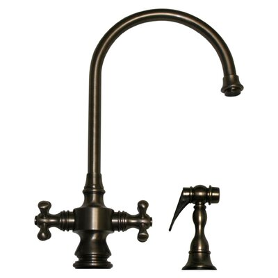 Vintage III Two Dual Handle Single Hole Kitchen Faucet with Cross Handle and Side Spray Finish: Pewter