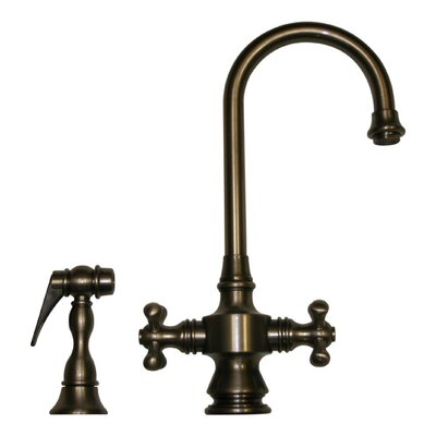 Vintage III Two Handle Single Hole Bar Faucet with Cross Handles and Side Spray Finish: Pewter