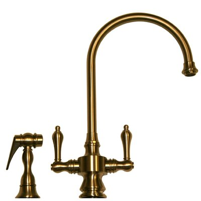 Vintage III Two Handle Single Hole Kitchen Faucet with Lever Handle and Side Spray Finish: Antique Brass