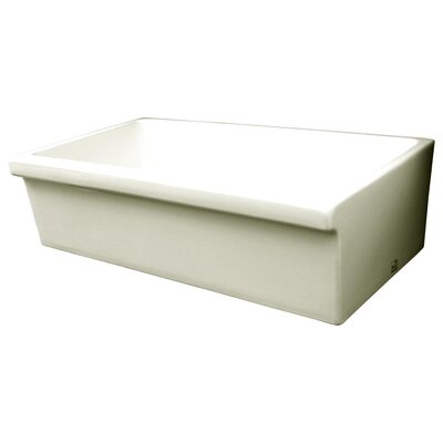 Farmhaus Fireclay 35.5 x 20 Large Quatro Alcove Reversible Fireclay Kitchen Sink Finish: Biscuit