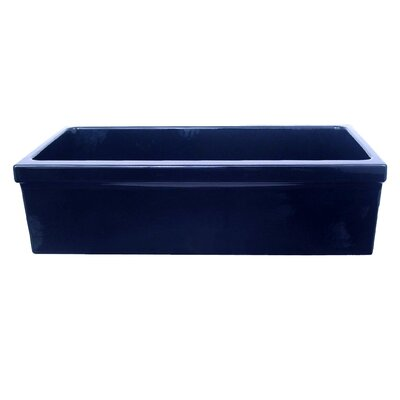 Farmhaus Fireclay 35.5 x 20 Large Quatro Alcove Reversible Fireclay Kitchen Sink Finish: Sapphire Blue