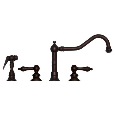 Vintage III Double Handle Kitchen Faucet with Side Spray Finish: Mahogany Bronze