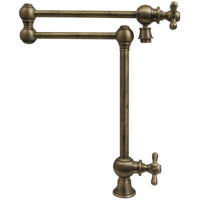 Vintage III Patented Deck Mount Two Handle Single Hole Pot Filler Faucet with Cross Handles and a Swivel Aerator Finish: Antique Brass