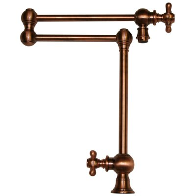 Vintage III Patented Deck Mount Two Handle Single Hole Pot Filler Faucet with Cross Handles and a Swivel Aerator Finish: Antique Copper