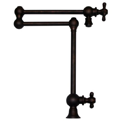 Vintage III Patented Deck Mount Two Handle Single Hole Pot Filler with Cross Handles and a Swivel Aerator Finish: Mahogany Bronze