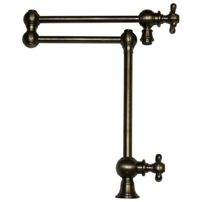 Vintage III Patented Deck Mount Two Handle Single Hole Pot Filler with Cross Handles and a Swivel Aerator Finish: Pewter