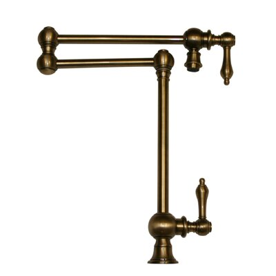 Vintage III Patented Deck Mount Two Handle Single Hole Pot Filler Faucet with Lever Handles and a Swivel Aerator Finish: Antique Brass