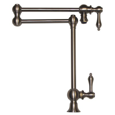 Vintage III Patented Deck Mount Two Handle Single Hole Pot Filler Faucet with Lever Handles and a Swivel Aerator Finish: Brushed Nickel