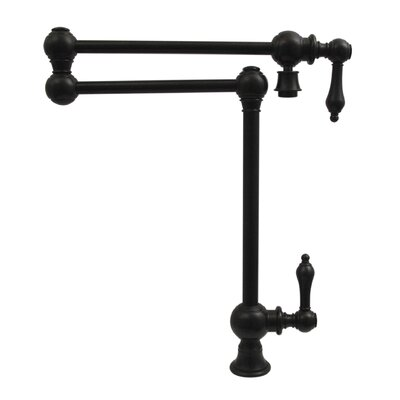 Vintage III Patented Deck Mount Two Handle Single Hole Pot Filler Faucet with Lever Handles and a Swivel Aerator Finish: Oil Rubbed Bronze