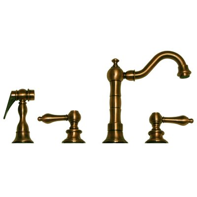 Vintage III Two Handle Widespread Bar Faucet with Swivel Spout, Lever Handles and Side Spray Finish: Antique Brass