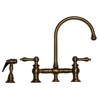 Vintage III Two Handle Widespread Kitchen Faucet with Gooseneck Swivel Spout, Lever Handles and Side Spray Finish: Antique Brass