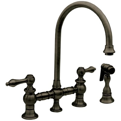 Vintage III Two Handle Widespread Kitchen Faucet with Gooseneck Swivel Spout, Lever Handles and Side Spray Finish: Pewter