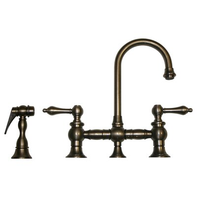 Vintage III 5.25 Two Handle Widespread Kitchen Faucet with Lever Handles and Side Spray Finish: Pewter
