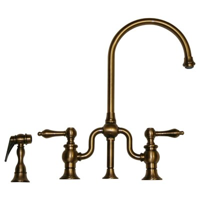 Twisthaus Two Handle Widespread Kitchen Faucet with Cross Handles and Side Spray Finish: Antique Brass