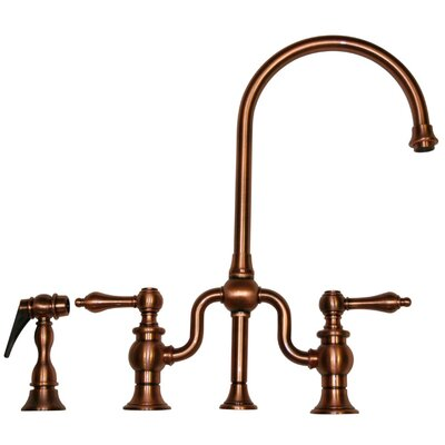 Twisthaus Two Handle Widespread Kitchen Faucet with Lever Handle and Side Spray Finish: Antique Copper