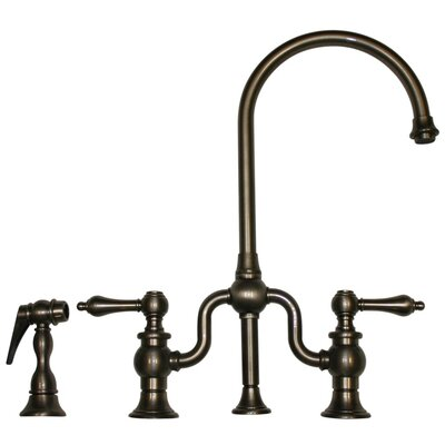 Twisthaus Two Handle Widespread Kitchen Faucet with Cross Handles and Side Spray Finish: Pewter