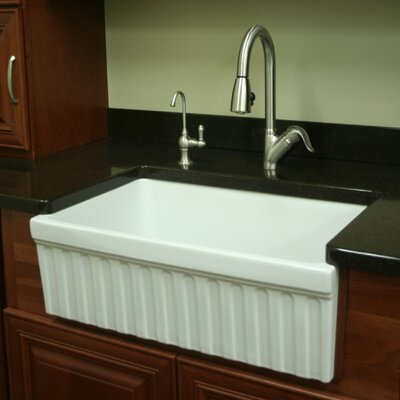 FarmhausQuatro 30 x 20 x 10 Single Bowl Farmhouse Kitchen Sink Finish: White
