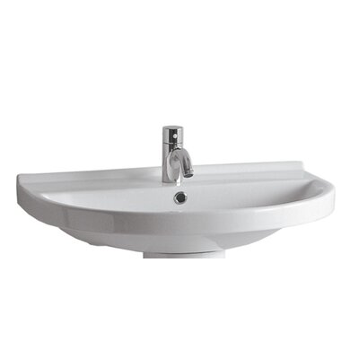 China Ceramic 24 Wall Mount Bathroom Sink with Overflow